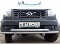 Дуга-защита переднего бампера на УАЗ Профи сдвоенная