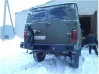 Бампер задний Аллигатор на УАЗ 452 с калиткой запасного колеса