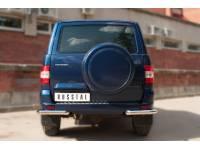 Защита заднего бампера уголки D63 (секции) на УАЗ Патриот с 2014г.